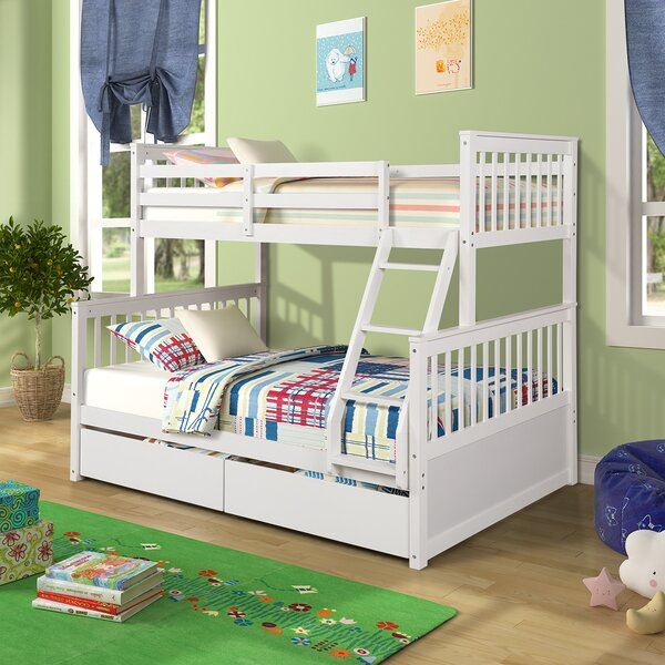 Ara Twin Over Full Bunk Bed with 2 Drawers by Harriet Bee