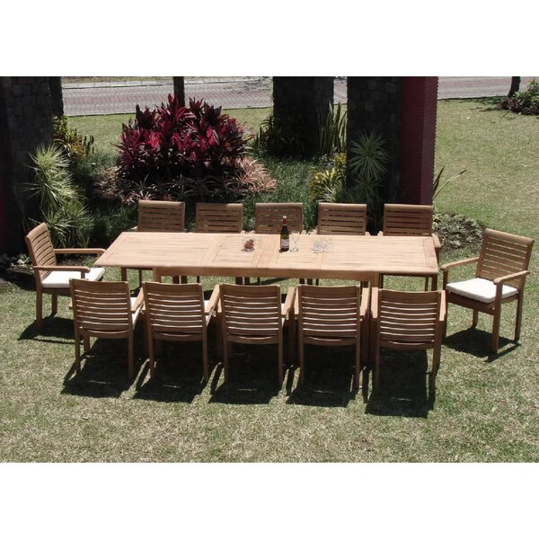 Hollo Luxurious 13 Piece Teak Dining Set by Rosecliff Heights