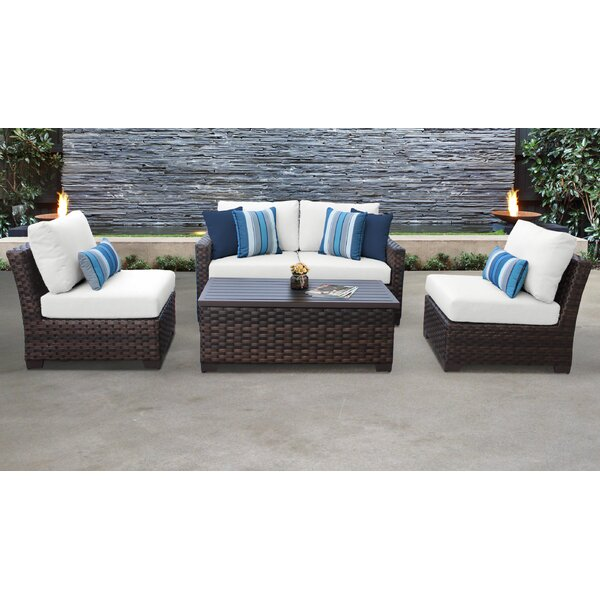River Brook 5 Piece Outdoor Wicker Patio Furniture Set 05d by kathy ireland Homes & Gardens by TK Classics