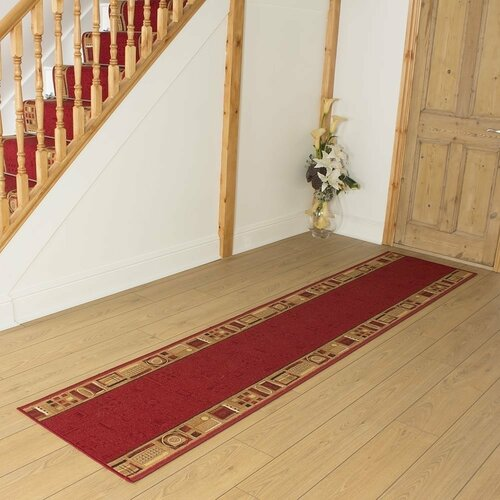 Barberton Looped/Hooked Red Hallway Runner Rug