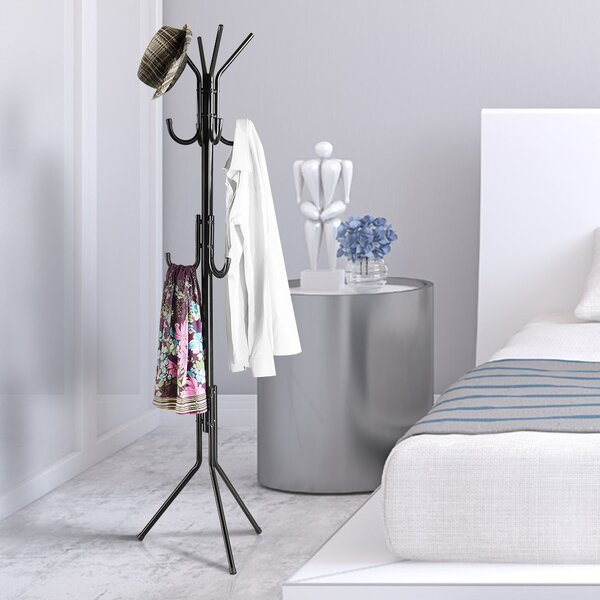 Destinee 11 Hooks Standing Entryway Coat Rack by Charlton Home