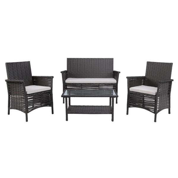 4 Piece Dining Set with Cushions by Baner Garden