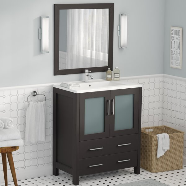 Karson 30 Single Bathroom Vanity Set with Mirror by Wade Logan