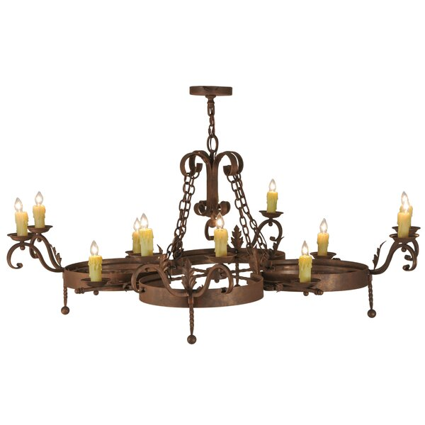 Elzira 12 - Light Candle Style Wagon Wheel Chandelier by Fleur De Lis Living Fleur De Lis Living