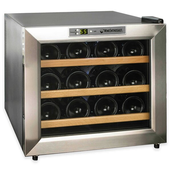 12 Bottle Silent Series Single Zone Free-Standing Wine Cooler by Wine Enthusiast