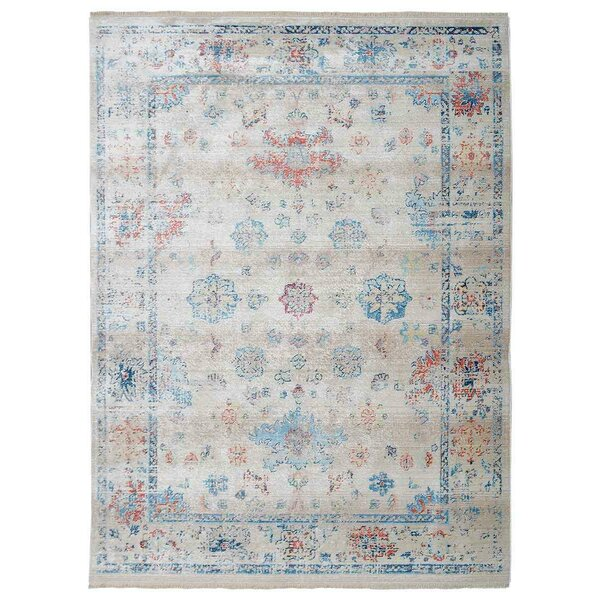 Mcmullan Oriental Aqua/white/Red Area Rug by Bungalow Rose