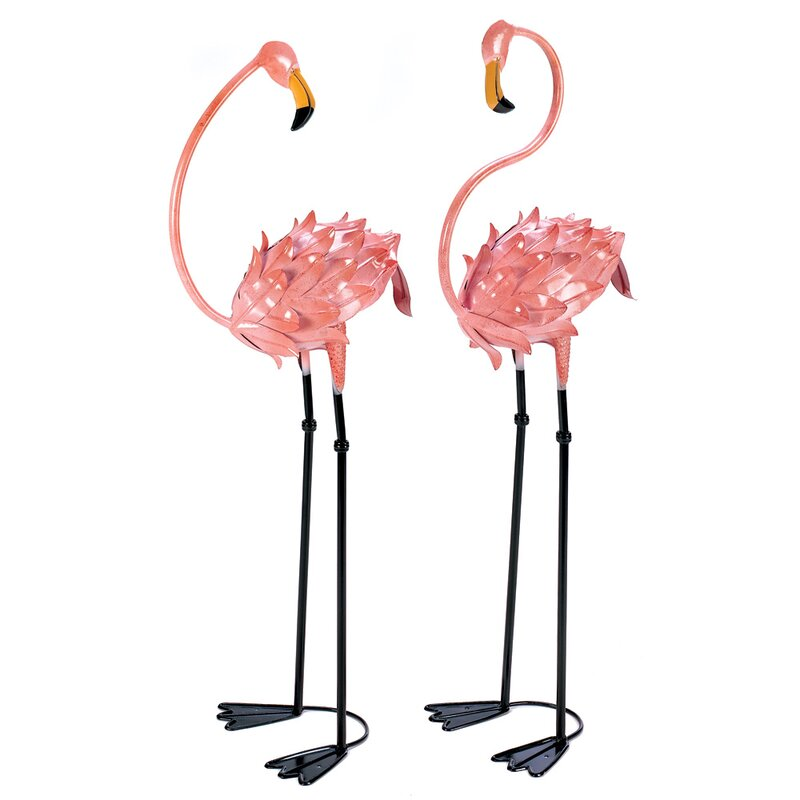 Flamboyant 2 Piece Flamingo Garden Stake Set