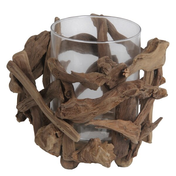 Wood and Glass Votive by Loon Peak