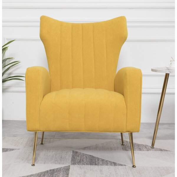 Sonya Channel Wingback Chair by Everly Quinn Everly Quinn