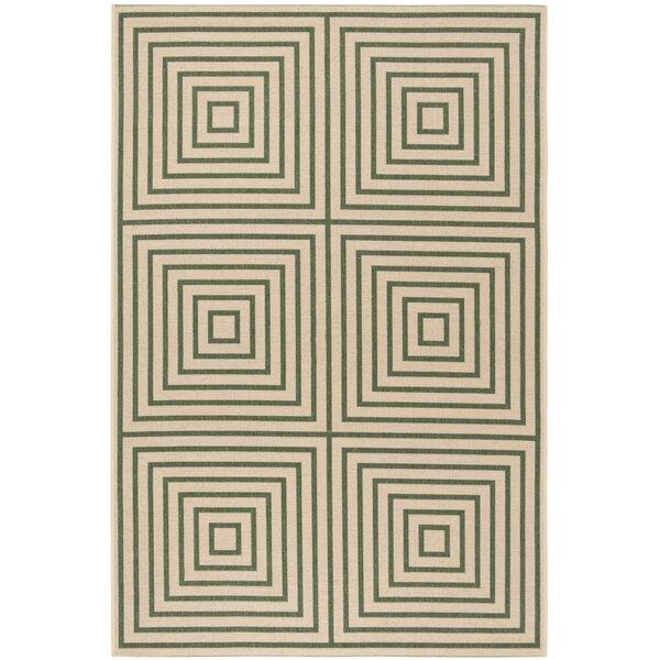 Shantell Cream/Green Area Rug by Brayden Studio