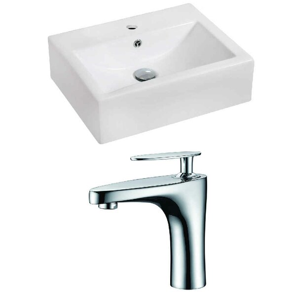 Ceramic 20 Wall-Mount Bathroom Sink with Faucet and Overflow by Royal Purple Bath Kitchen