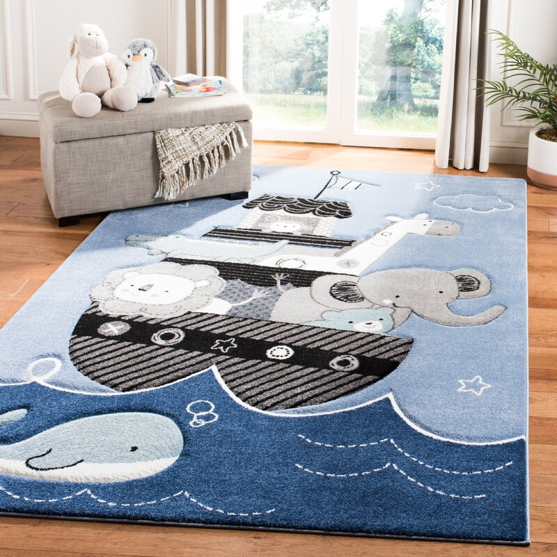 Harriet Bee Burgan Kids Blue Area Rug