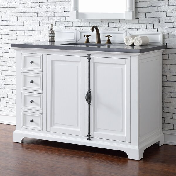 Ogallala 48 Single Ceramic Sink Cottage White Bathroom Vanity Set by Greyleigh