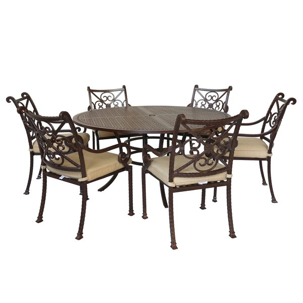 Waconia 7 Piece Dining Set with Cushions by Fleur De Lis Living