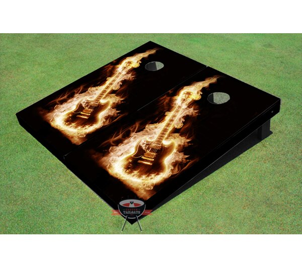 Flaming Guitar Cornhole Board (Set of 2) by All American Tailgate