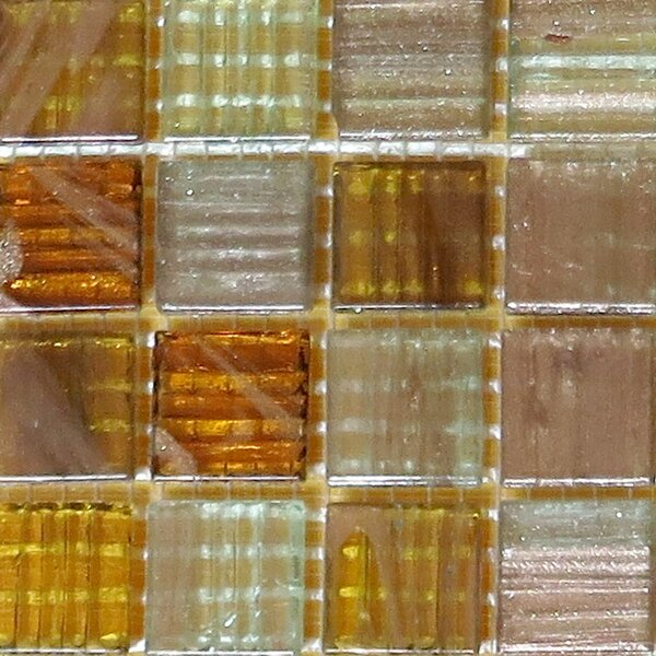 0.75 x 0.75 Glass Mosaic Tile in Brown/Gold by Bellaterra Home