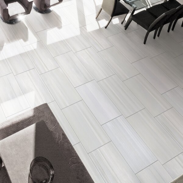 Watercolor Bianco 12 x 24 Porcelain Field Tile by
