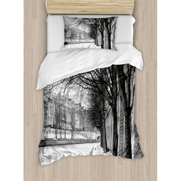 Decorations Seine River Paris France Snowy Winter in Urban City Trees Duvet Set by East Urban Home