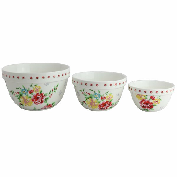 Shabby Rose 3 Piece Porcelain Mixing Bowl Set by Grace's Tea Ware