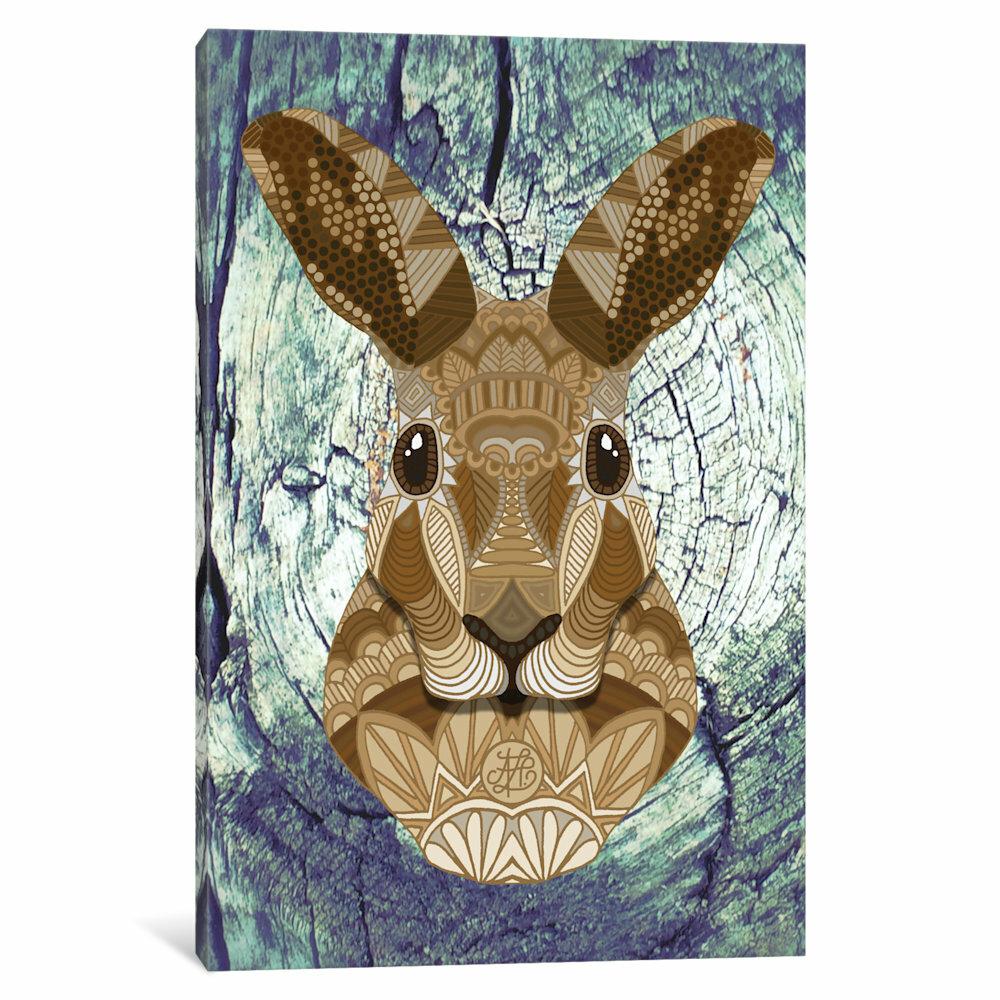 Abstract Hare Portrait Print.Wild Life Animal Print Interior Design Hare Portrait Statement Piece