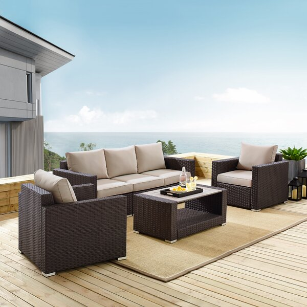 4 Piece Rattan Sofa Seating Group with Cushions by Orren Ellis