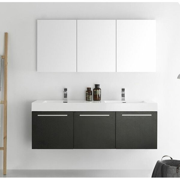 Senza 60 Vista Double Wall Mounted Modern Bathroom Vanity Set with Mirror by Fresca