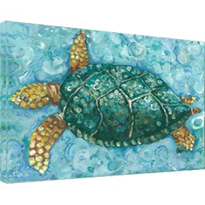 Aqua Sea Turtle' Cotton Painting Print on Canvas by Beachcrest Home