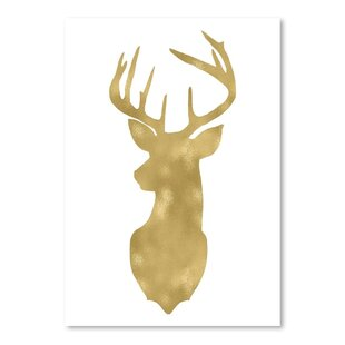 Deer Head Left Face Gold On White Poster Gallery Graphic Art