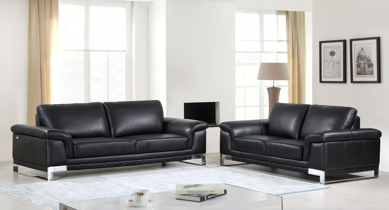 Lara Luxury Italian Leather 2 Piece Living Room Set