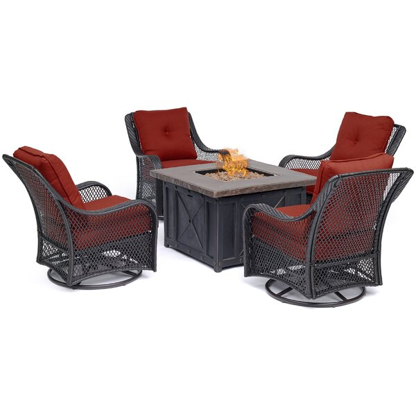 Innsbrook 5-Piece Fire Pit Chat Set in Autumn Berry with 4 Woven Swivel Gliders and a Durastone Fire Pit by Alcott Hill