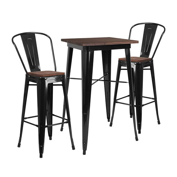 Mulhern Square 3 Piece Pub Table Set by Williston Forge