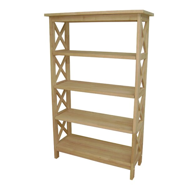 Unfinished Wood 4 Tier Etagere Bookcase by International Concepts