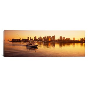 'Ferry Moving in the Sea, Boston Harbor, Boston, Massachusetts' Photographic Print on Canvas by East Urban Home