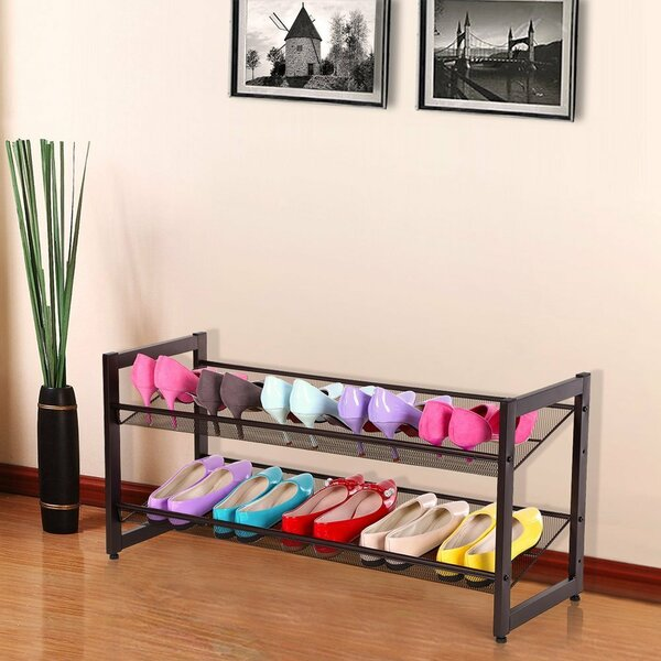 Metal 8 Pair Shoe Rack