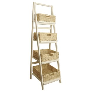 Woven Wicker Baskets 4.5 ft Decorative Ladder by Longshore Tides