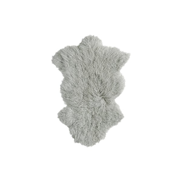 Rockwall Faux Sheepskin Sage Gray Area Rug by Luxe