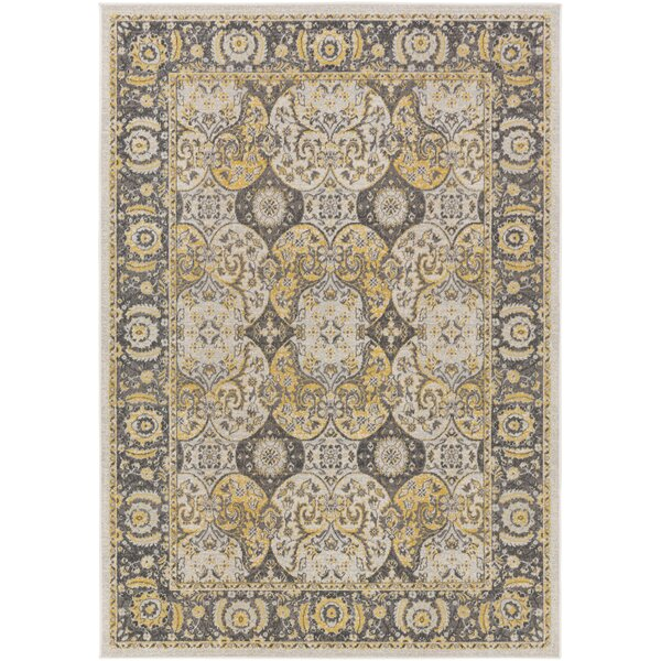 Eberly Light Yellow/Charcoal Area Rug by Charlton Home