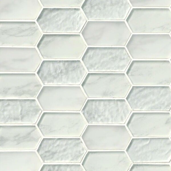 Calypso Picket Pattern Glass Mosaic Tile in White by MSI