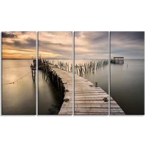 'Carrasqueira Old Wooden Pier' 4 Piece Photographic Print on Wrapped Canvas Set by Design Art