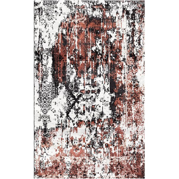 Aliza Handloom Rust/Charcoal Area Rug by Bungalow Rose