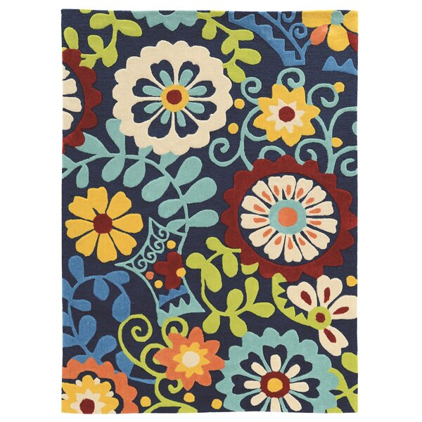 Beaded Hand-Tufted Yellow/Blue/Beige Area Rug by Ebern Designs