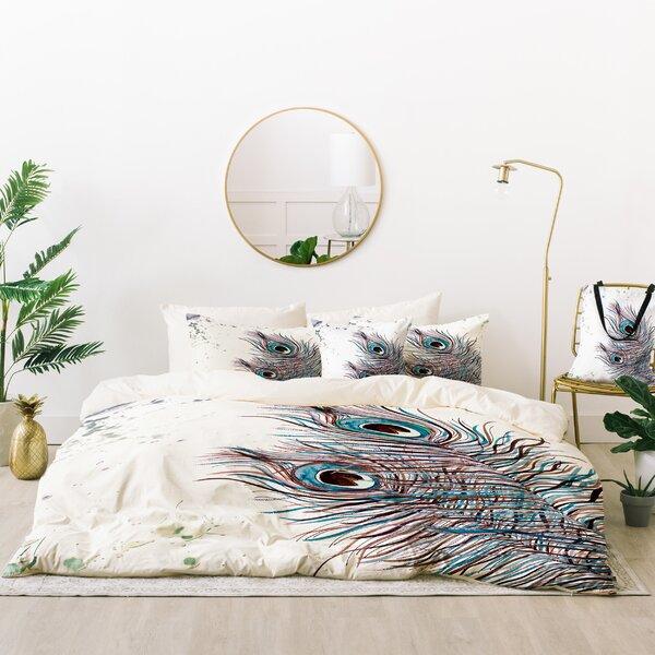 Monika Strigel Boho Peacock Feathers Duvet Cover Set