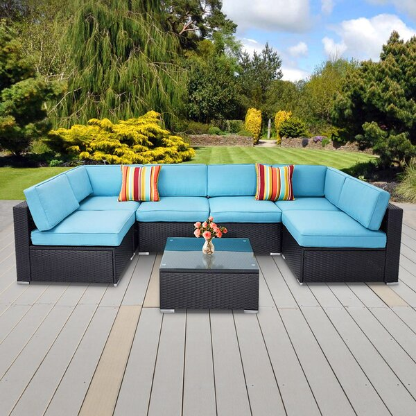 Valinda 7 Piece Rattan Sofa Seating Group with Cushions by Ebern Designs