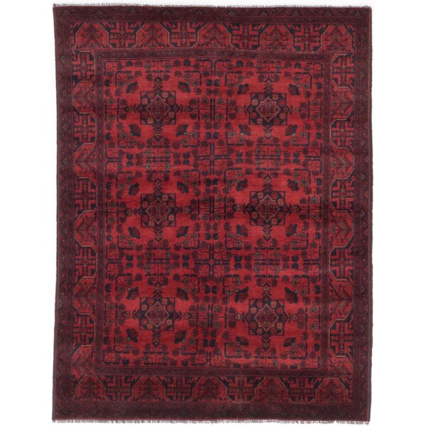 One-of-a-Kind Rosales Hand-Knotted Wool Dark Burgundy Indoor Area Rug by Bloomsbury Market