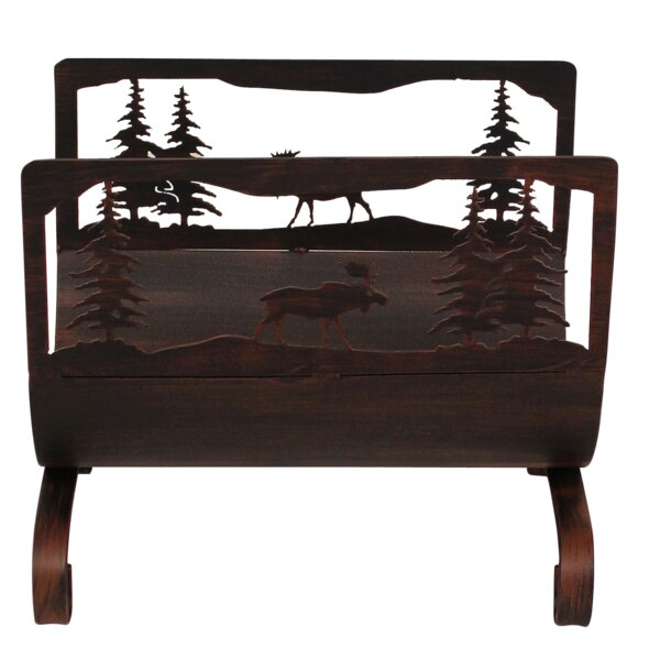 Moose Scene Wood Log Carrier by Coast Lamp Mfg.