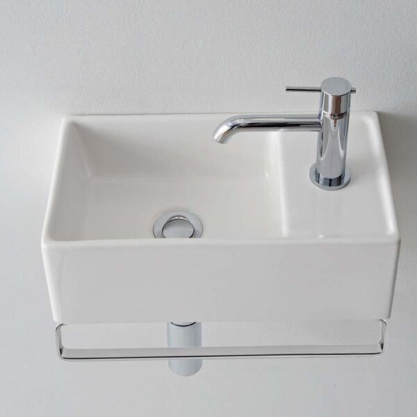 Teorema Ceramic 17 Wall Mount Bathroom Sink with Overflow by Scarabeo by Nameeks