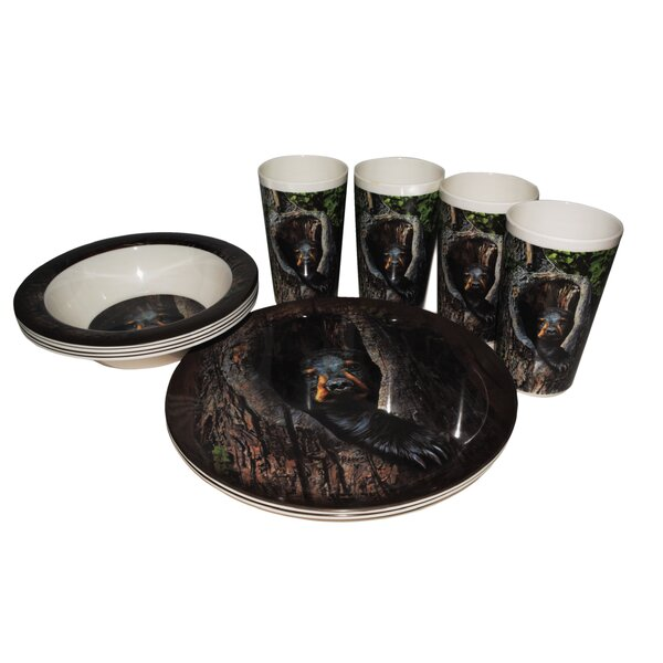Cubby Bear Melamine 12 Piece Dinnerware Set, Service for 4 by MotorHead Products