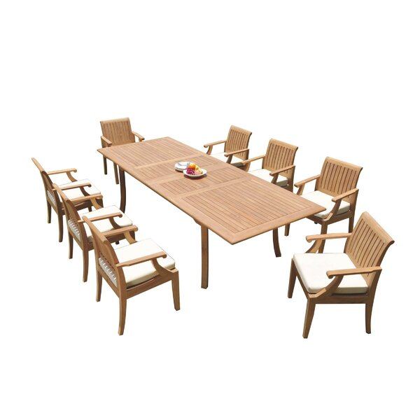 Java 9 Piece Teak Dining Set by Rosecliff Heights