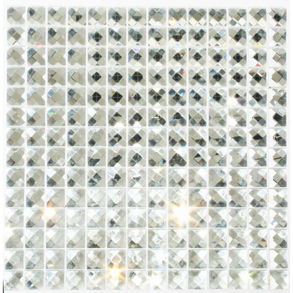 Signature Line Diamond Bling 1 x 1 Glass Mosaic Tile in Gray by Susan Jablon