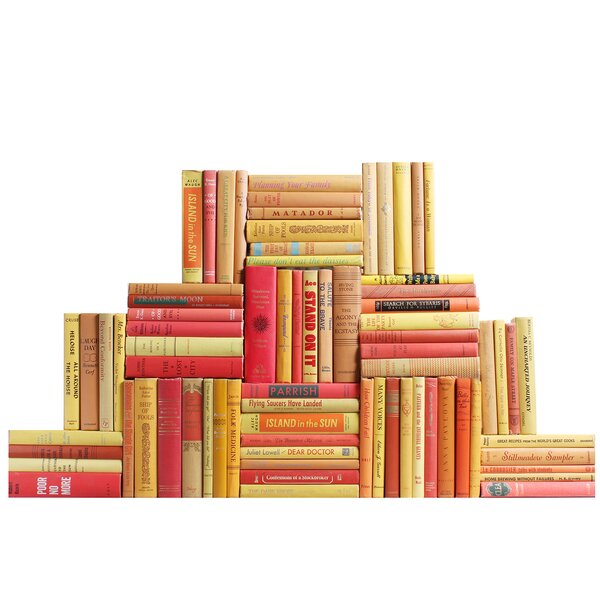 Authentic Decorative Books - By Color Midcentury Sunset Book Wall, Set of 75 (7.5 Linear Feet) by Booth & Williams